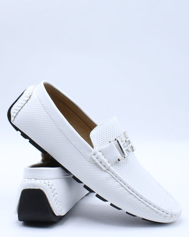 Men's Perforated Buckle Drive Shoe - White-VIM.COM
