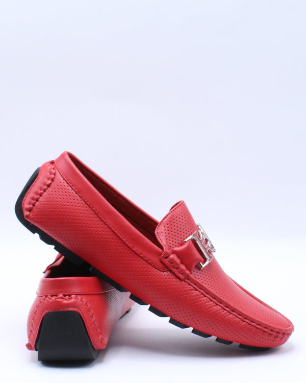 Men's Harrison Perforated Drive Shoe - Red-VIM.COM