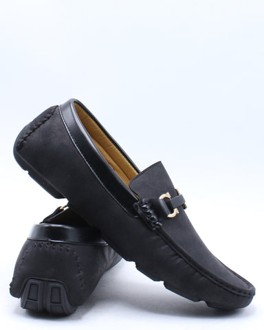 Men's Nubuck Drive Buckle Shoe - Black-VIM.COM