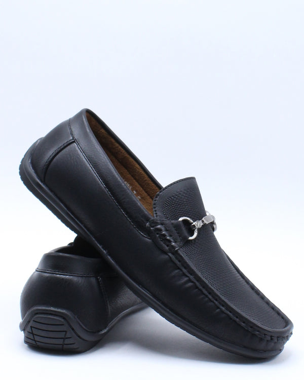 Men's Buckle Drive Shoe - Black-VIM.COM