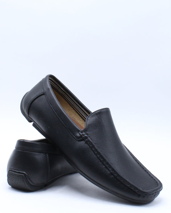Men's Moc Toe Drive Shoe - Black-VIM.COM