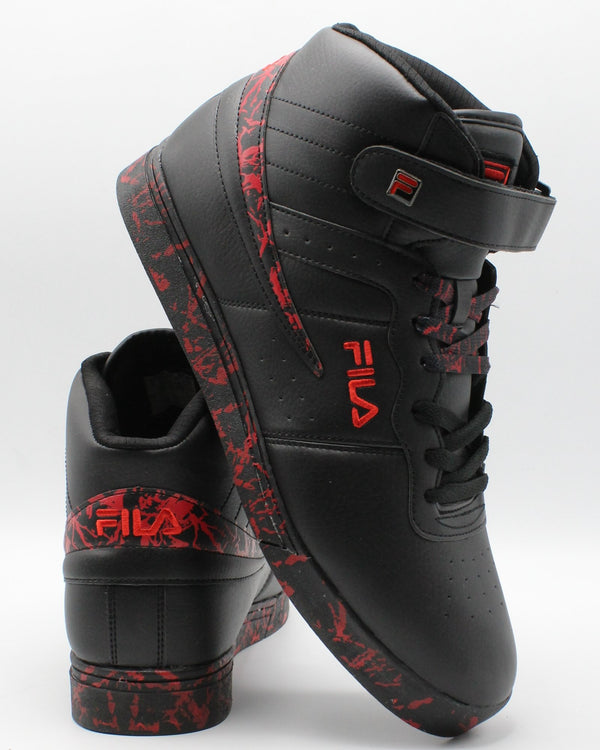 FILA-Men's F-13 Mp Marble Sneaker - Black Red-VIM.COM