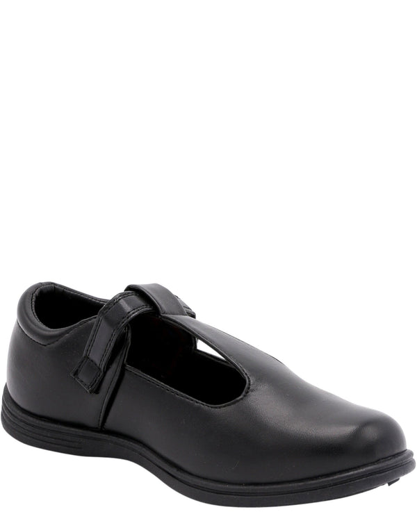 VIM Girl'S Thick T-Strap School Shoes Flats (Pre School/Grade School) - Black - Vim.com