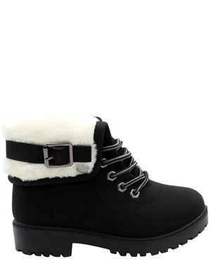 VIM Girls Short Fold Over Fur Booties - Black Tan - Vim.com