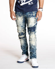VIM Moto Patches & Rips Acid Wash Jean - Dark Blue - Vim.com
