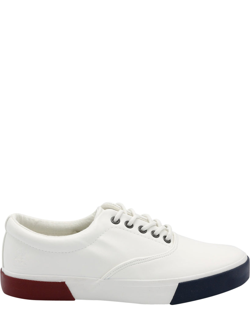 BEVERLY HILLS POLO CLUB Men'S John Leather Sneaker - White Red Navy - Vim.com