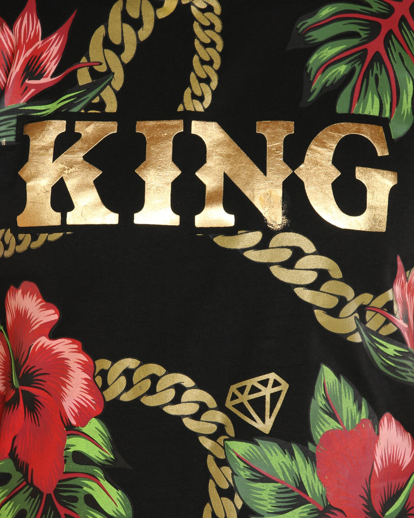 VIM King Gold Chain & Roses Printed Tee - Black - Vim.com