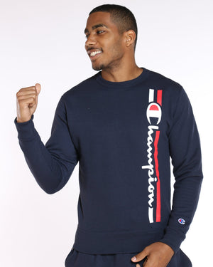 CHAMPION-Men's Champion Box Logo Fleece Crew Sweater - Navy-VIM.COM