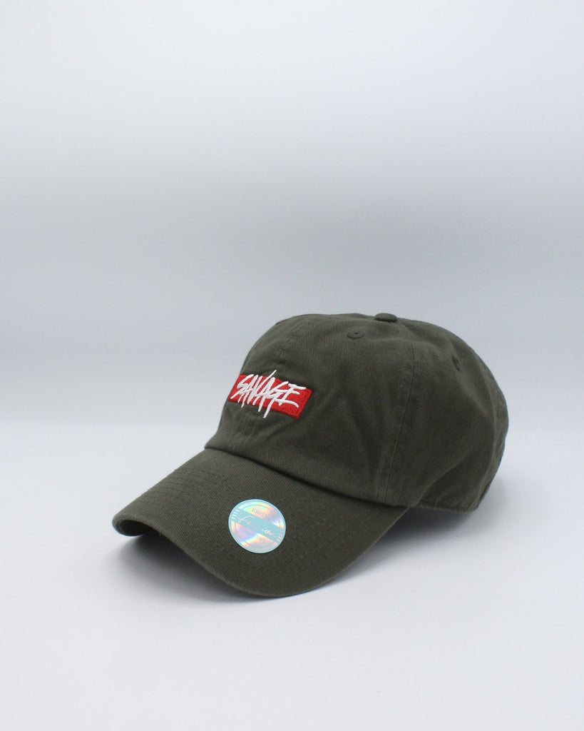 VIM Savage Box Logo Plain Dad Hat - Olive - Vim.com
