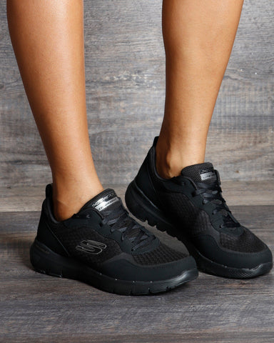 SKECHERS Flex Appeal 3.0 Go Forward Sneakers - Black - ShopVimVixen.com