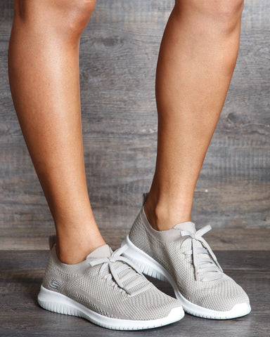 SKECHERS Ultra Flex Statement Sneakers - Taupe - ShopVimVixen.com