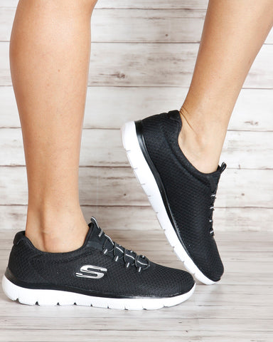 SKECHERS Summits Low Top Sneakers - Black White - ShopVimVixen.com