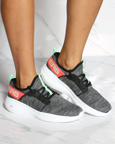 SKECHERS Go Run Fast Sneaker - Black Multi - ShopVimVixen.com
