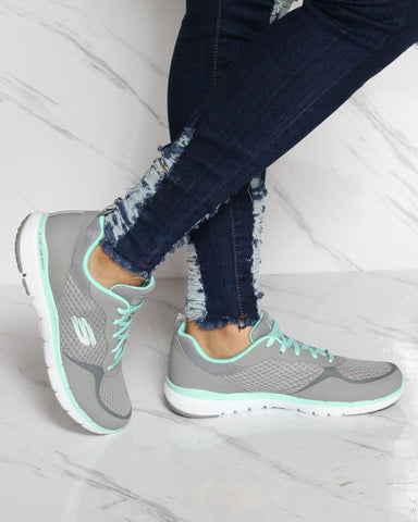 SKECHERS Flex Appeal Go Forward Sneaker - Grey Mint - ShopVimVixen.com