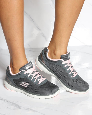 SKECHERS Flex Appeal 3.0 Moving Fast Sneaker - Charcoal Pink - ShopVimVixen.com