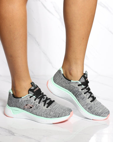 SKECHERS Solar Fuse Brisk Escape Shoe - Grey Metal - ShopVimVixen.com
