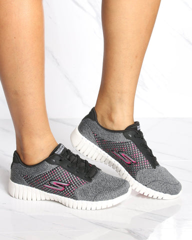 SKECHERS Go Walk Smart Influence Shoe - Black Pink - ShopVimVixen.com