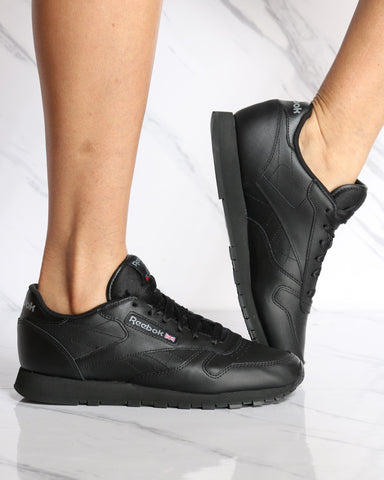 REEBOK-Women's Classic Leather Plus Sneaker - Black-VIM.COM