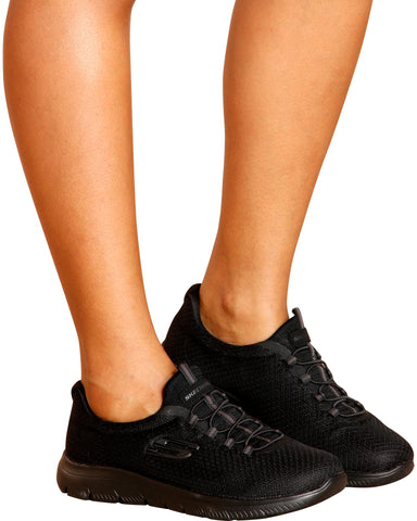 SKECHERS-Women's Summits Wide Sneaker - Black-VIM.COM
