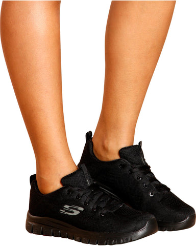 SKECHERS-Women's Get Connected 12615Bbk Sneaker - Black-VIM.COM