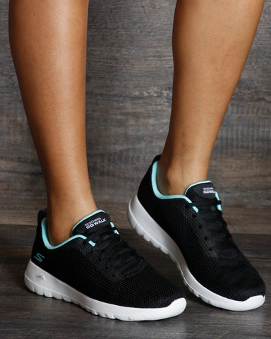 SKECHERS-Women's Go Walk Joy Up Turn Sneaker - Black-VIM.COM