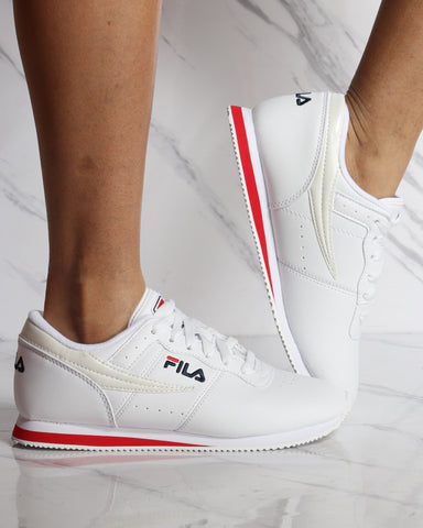 FILA-Women's Machu Low Top Sneaker - White Red Navy-VIM.COM