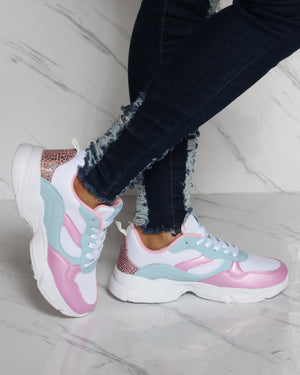 PARISH NATION Lace Up Mesh Sneaker - White Pink Blue - ShopVimVixen.com