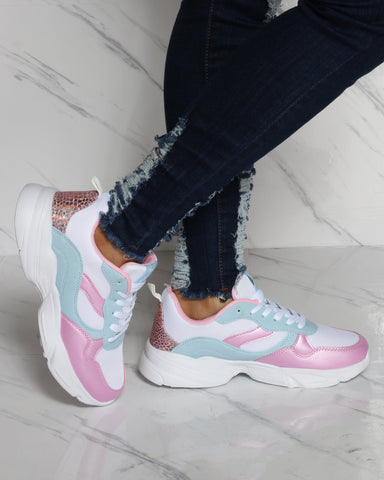 PARISH NATION-Women's Lace Up Mesh Sneaker - White Pink Blue-VIM.COM