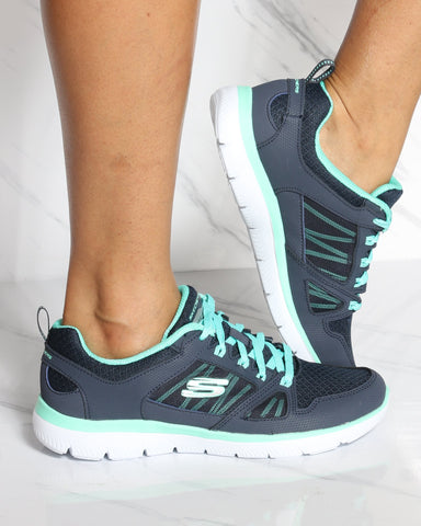SKECHERS Summit Newworld Sneaker - Navy Teal - ShopVimVixen.com