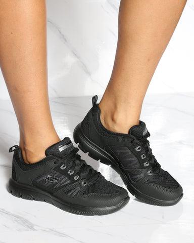 SKECHERS Summits New World Sneaker - Black - ShopVimVixen.com