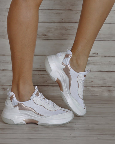 SKECHERS Sevona Low Top Sneakers - White Rose Gold - ShopVimVixen.com