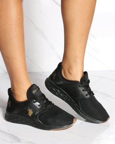 U.S. POLO ASSN. U.S. Polo Assn. Mesh Low Top Sneaker - Black Gold - ShopVimVixen.com