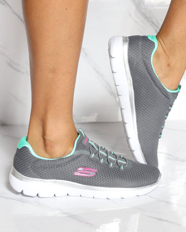 SKECHERS Skechers Summits Sneaker - Grey Green - ShopVimVixen.com