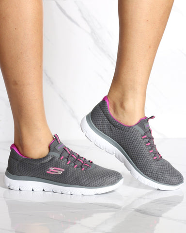 SKECHERS-Women's Summit Low Top Sneaker - Grey Purple-VIM.COM