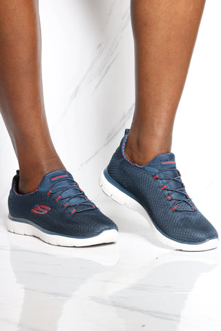 SKECHERS-Women's Summit Polka Sneaker - Blue Red-VIM.COM