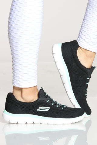 Women's Summits Cool Classic Sneaker - Black Turquoise