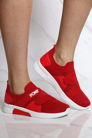 Women's Knit Sock Pony Band Sneaker - Red