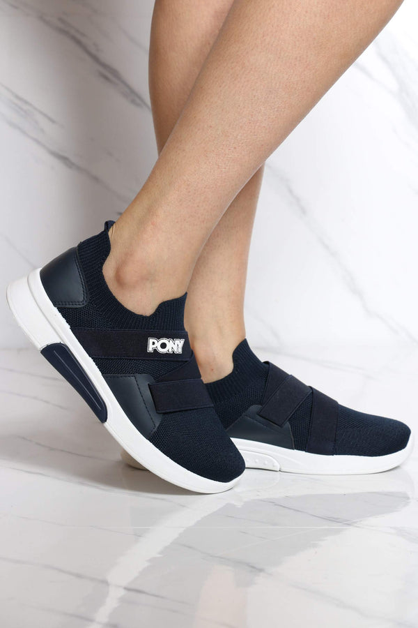 PONY-Women's Knit Sock Pony Band Sneaker - Navy-VIM.COM