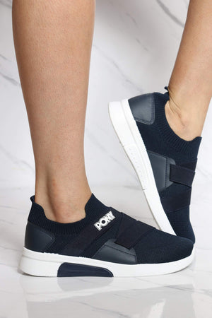 Women's Knit Sock Pony Band Sneaker - Navy