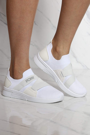 Women's Knit Sock Pony Band Sneaker - White
