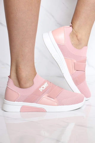 PONY-Women's Knit Sock Pony Band Sneaker - Pink-VIM.COM