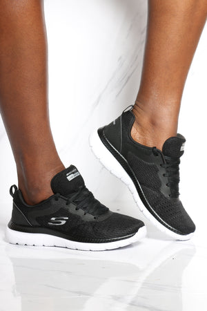 SKECHERS-Women's Bountiful Quick Path Sneaker - Black White-VIM.COM