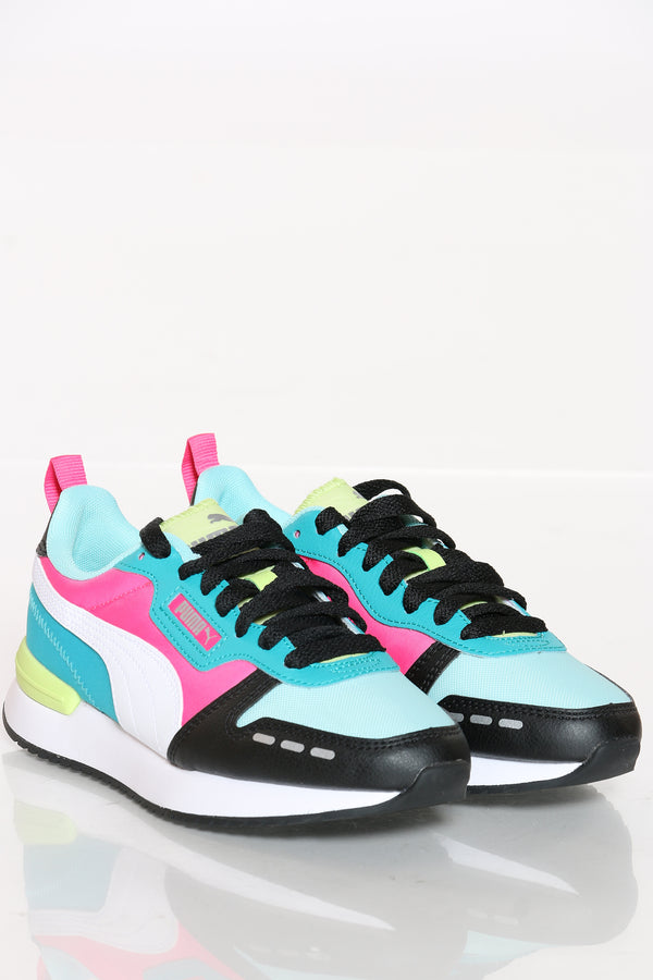 Women's Puma R78 Neon Shoe - Black Multi