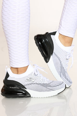 Women's Skech-Air Stratus Sneaker - White Black