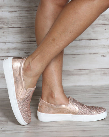 SKECHERS Goldie Shiny Shaker Sneaker - Rose Gold - ShopVimVixen.com