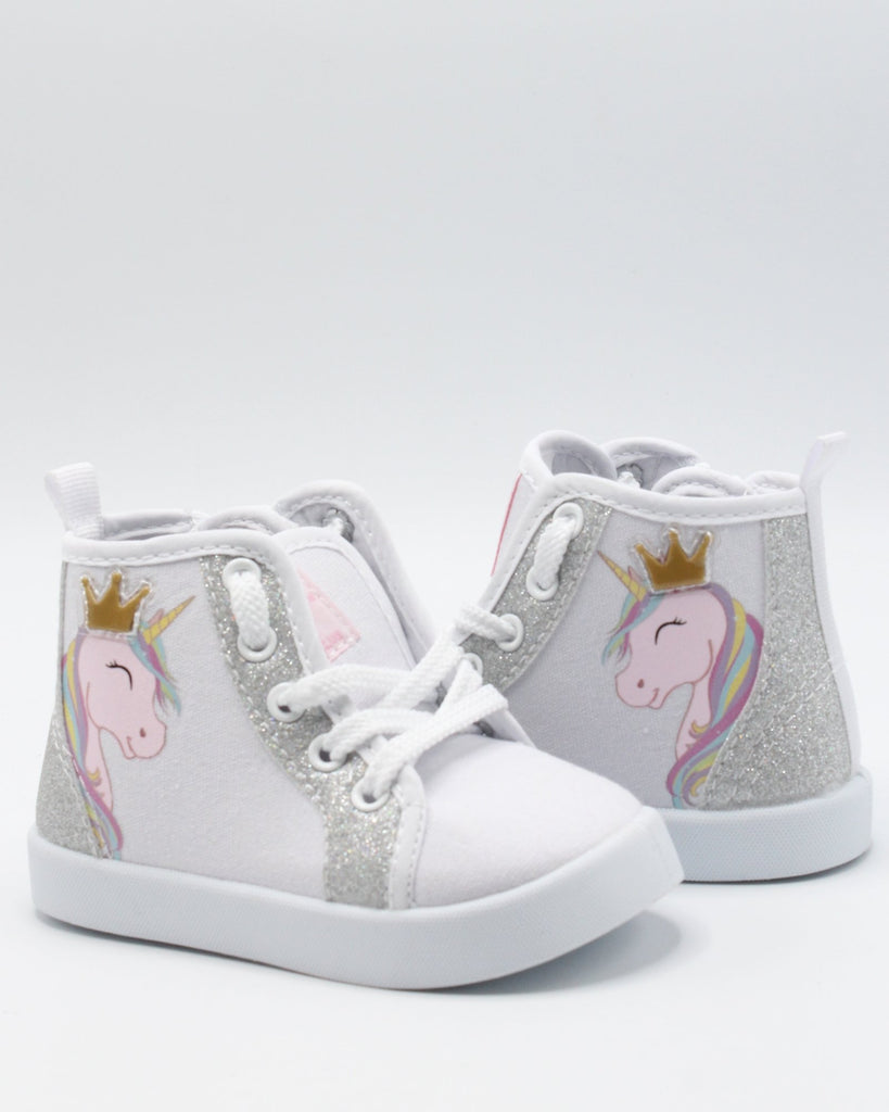 BEVERLY HILLS POLO CLUB Unicorn Zipper Bootie Sneaker (Toddler) - Silver - Vim.com