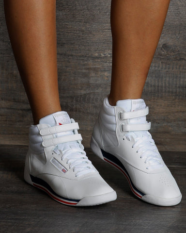 REEBOK-Women's Freestyle Hi Top Sneaker - White Navy Red-VIM.COM