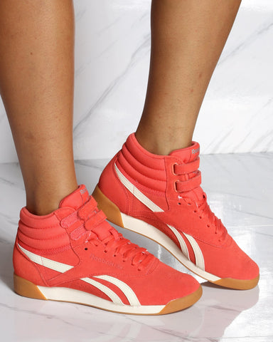 REEBOK-Women's Freestyle Hi Top Sneaker - Rosette Cream-VIM.COM