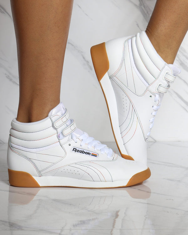 Women's Freestyle Hi Top Sneaker - Gum White