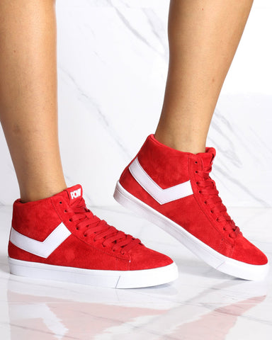 Women's Classic High Suede Sneaker - Red-VIM.COM